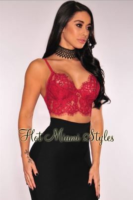 HMS Red Lace Underwire Bralette